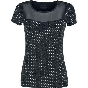 Rock Rebel by EMP schwarzes T-Shirt mit transpatentem Ausschnitt und weißen Punkten dívcí tricko černá