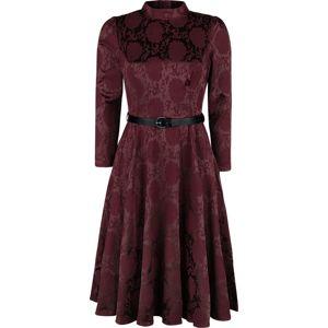 H&R London Chevron Red Swing Dress šaty tmavě červená