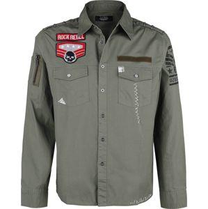 Rock Rebel by EMP grünes Army Hemd mit Patches und Brusttaschen košile olivová