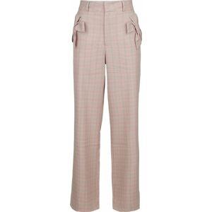 Voodoo Vixen Tammy Bow Pocket Plaid Trouser Dámské kalhoty světle růžová
