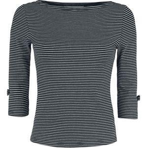 Banned Retro Košile Striped dívcí triko s dlouhými rukávy cerná/bílá