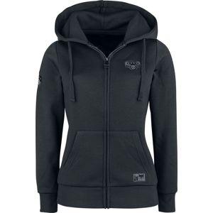 Black Premium by EMP Bunda s kapucí a nášivkami dívcí mikina s kapucí a zipem černá