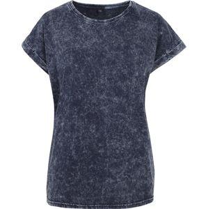 RED by EMP Dámské tričko s ''vyžratým'' efektem a rozšířenými rameny dívcí tricko tmave modrá/bílá