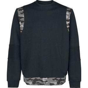 Black Premium by EMP Teplákové tričko s kamufláž detaily Mikina černá