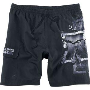 Rammstein Broken Logo pánské plavky cerná/šedá