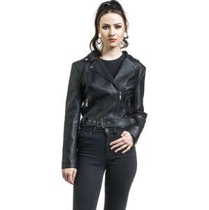 H&R London Kožená bunda dívcí kožená bunda černá