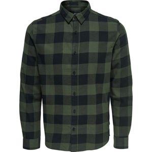 ONLY and SONS Kostkovaná košile Gudmund košile cerná/zelená