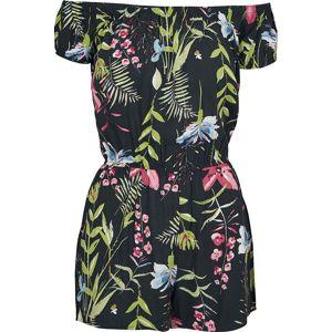 Urban Classics Krátký dámský overal Black Flower Off-Shoulder Kombinéza cerná/barevná