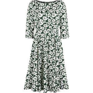 H&R London Šaty White Roses šaty tmavě zelená / bílá