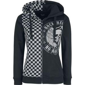 Rock Rebel by EMP Kapuzenjacke mit Schachbrettmuster dívcí mikina s kapucí a zipem černá