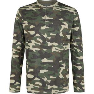 Black Premium by EMP Kamufláž tričko s dlouhými rukávy s řadou knoflíků tricko s dlouhým rukávem maskáčová