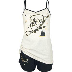 Harry Potter Chibi Quidditch pyžama krémová/cerná