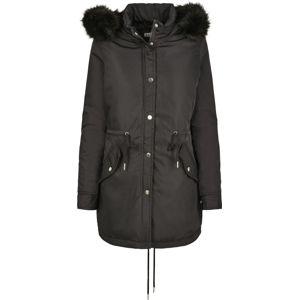 Urban Classics Dámská parka s imitaci kožešiny dívcí zimní bunda černá