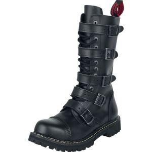 Angry Itch Boty se 14-řadovým šněrováním a 5 přezkami boty černá