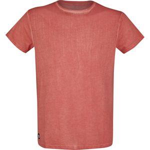 RED by EMP Červené tričko s lehkým opraným efektem tricko červená