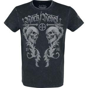 Rock Rebel by EMP schwarzes T-Shirt mit Rundhalsausschnitt und Print tricko černá