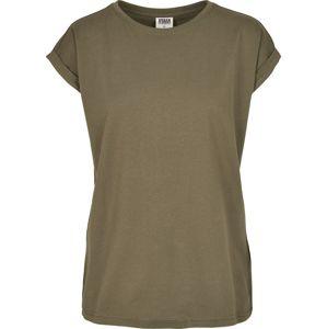 Urban Classics Dámské organické tričko s rozšířenými rameny dívcí tricko olivová
