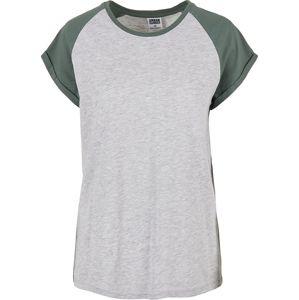 Urban Classics Dámské kontrastní raglanové tričko Tričko šedivějící / zelená