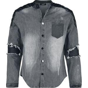 Rock Rebel by EMP Denimová košile s obnošeným vzhledem a motorkářskými detaily košile cerná/modrá