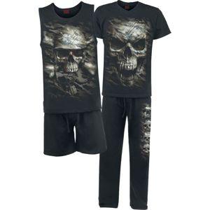 Spiral Camo Skull pyžama černá
