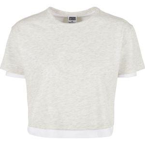 Urban Classics Dámské dvouvrstvé tričko Dámské tričko šedivějící / bílá