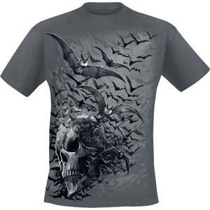 Spiral Bat Skull tricko šedá