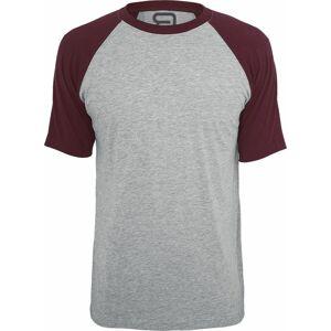 RED by EMP grau meliertes T-Shirt mit bordeaux Ärmeln Tričko šedivějící / bordó