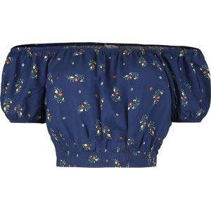 Banned Retro Top s odhaleným ramenem Spring Sprig dívcí tricko modrá