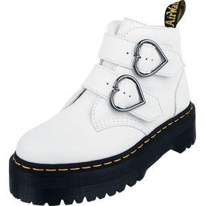 Dr. Martens Devon Heart White Aunt Sally 2 Strap Boot boty bílá