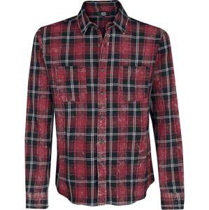 RED by EMP Kostkovaná košile s lehkým opraným efektem košile cerná/cervená