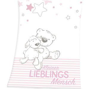 Kleiner Lieblingsmensch Deka Flísová deka bílá/ružová