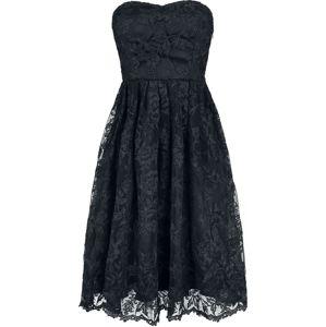 H&R London Šaty bez ramínek Black Chantilly Lace šaty černá