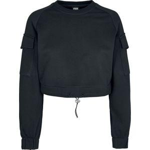 Urban Classics Dámské krátké tričko Worker Dívcí mikina černá