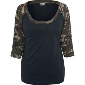 Urban Classics dívcí triko s dlouhými rukávy černá maskáčová