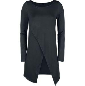 Forplay Dlouhý asymetrický top s dlouhými rukávy dívcí triko s dlouhými rukávy černá