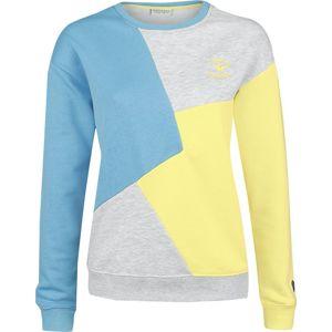 Stitch and Soul Dámské teplákové tričko ve stylu osmdesátých let Dívcí mikina modrá/šedá melírovaná/žlutá