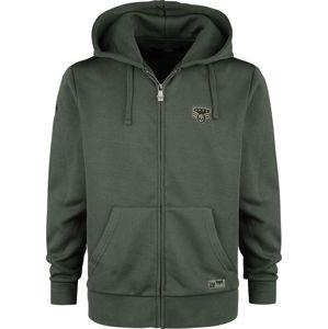 Black Premium by EMP Olivově zelená mikina na zip s kapucí a nášivkami mikina s kapucí na zip olivová